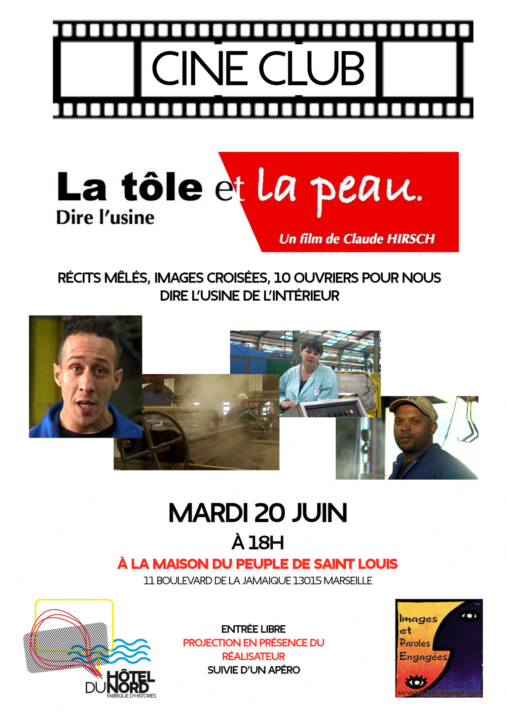 projection à Saint Louis du film la tole et la peau de Claude Hirsh