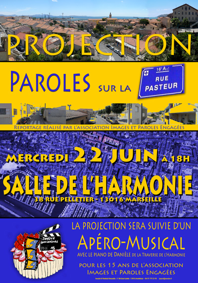 Affiche projection sur la rue Pasteur Marseille Estaque